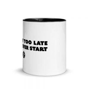 white with black coffee mug