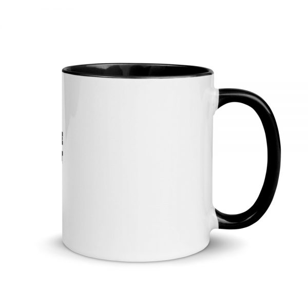 white with black coffee mug